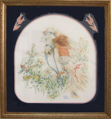 Girl and Horse with Tulip Cut outs, Needleworks